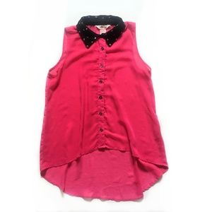 Sheer Pink Sleeveless Blouse with Studded Collar